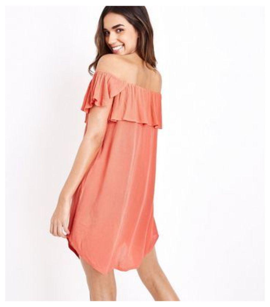 Coral Bardot Neck Beach Shirt Dress New Look