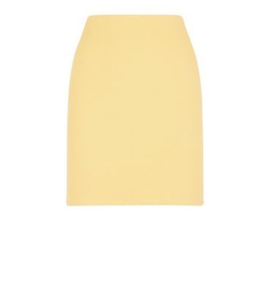 Mustard Ribbed Tube Skirt New Look