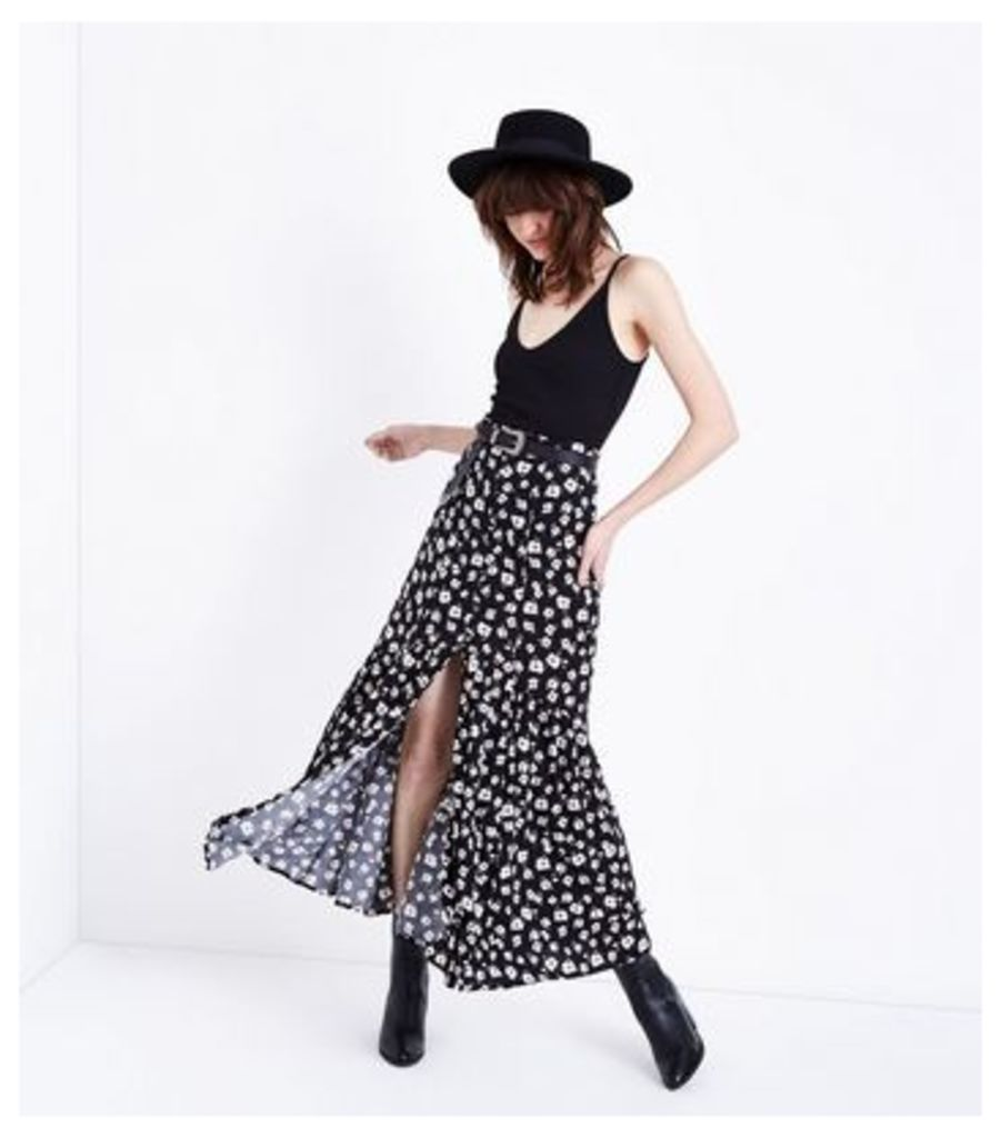 Black Ditsy Floral Button Front Maxi Skirt New Look