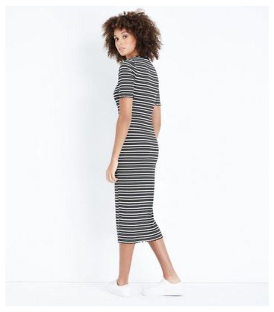 Black Stripe Ribbed Midi Bodycon Dress New Look