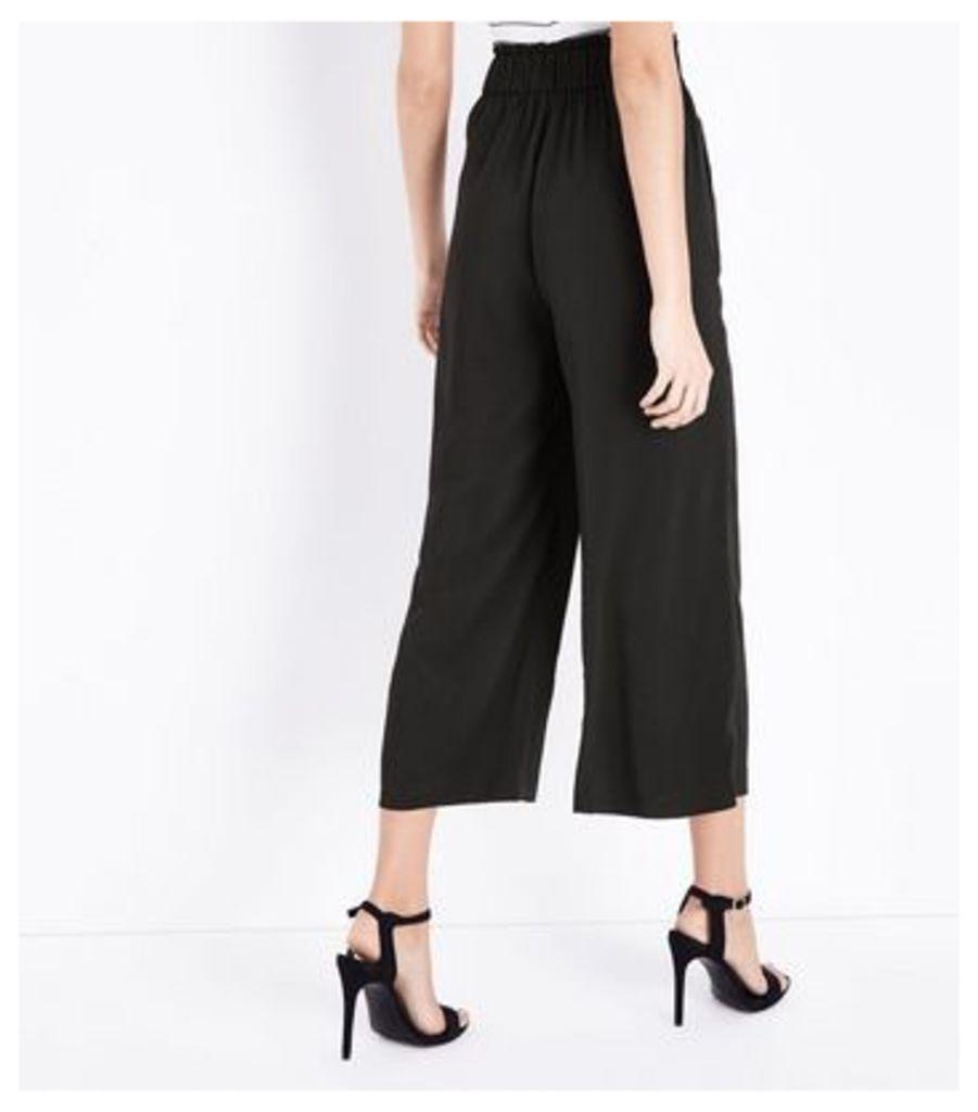 Tall Black Tie Waist Culottes New Look