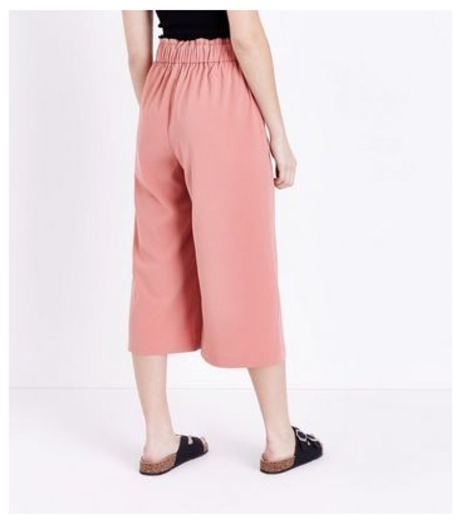 Petite Coral Tie Waist Culottes New Look
