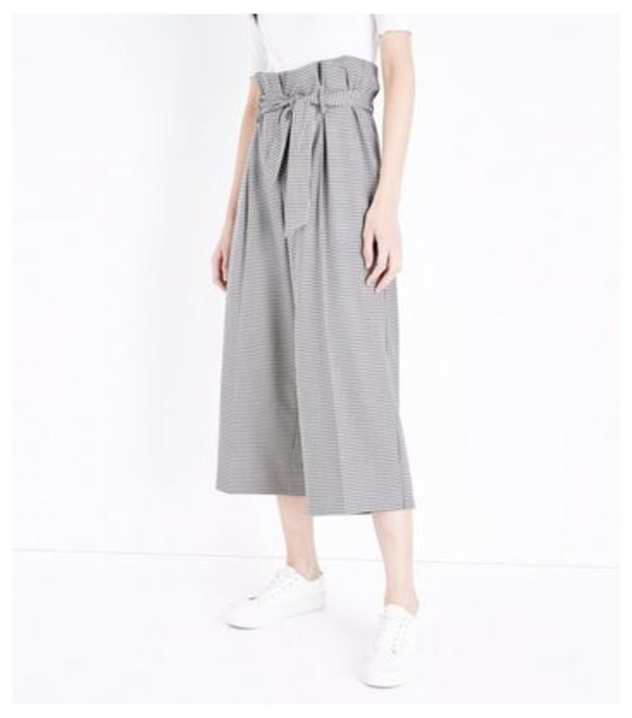 Brown Check Paperbag Waist Cropped Trousers New Look