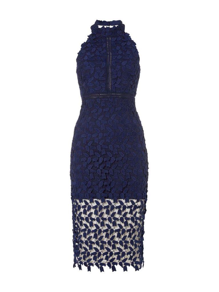 Bardot Sleeveless Halter Neck Embroidred Gemma Dress, Blue
