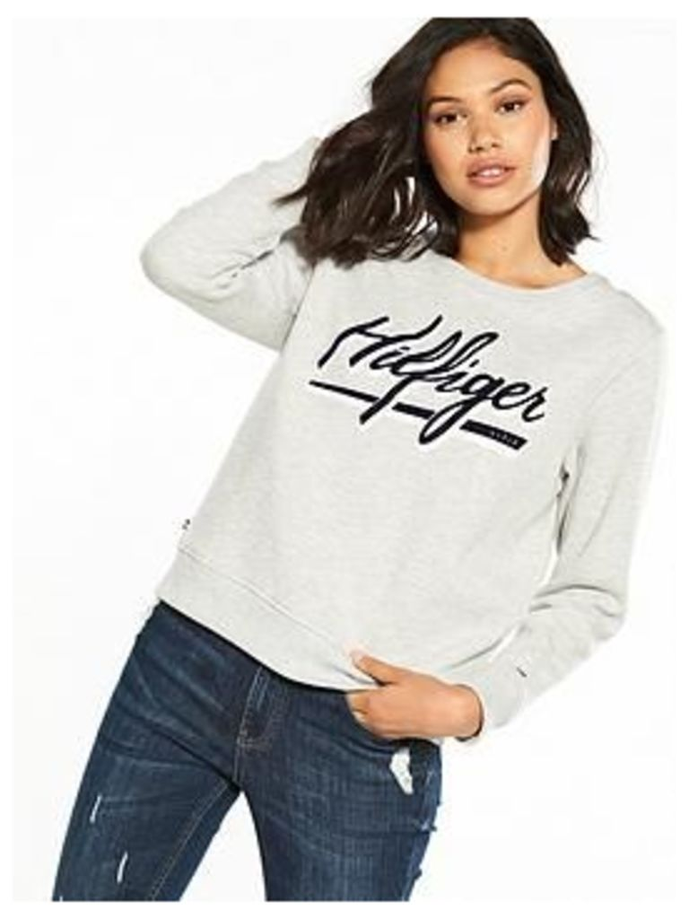 Tommy Jeans Graphic Sweat Top, Light Grey Heather, Size 12=M, Women