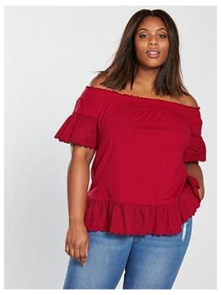 V by Very Curve Jersey Cotton Hem Bardot Top, Burnt Red, Size 32, Women