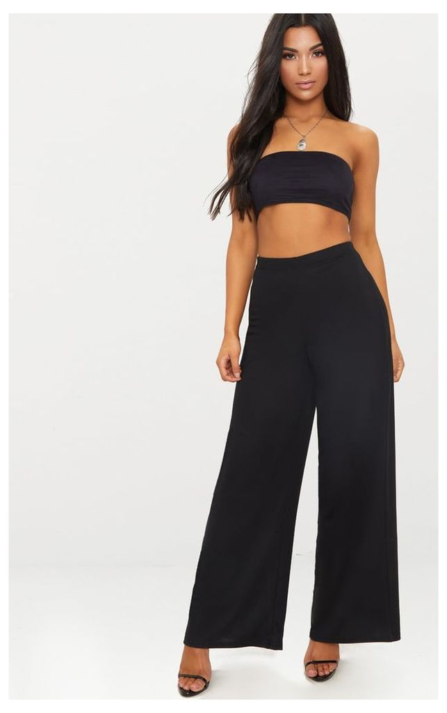 Black Sweat Wide Leg Trousers, Black
