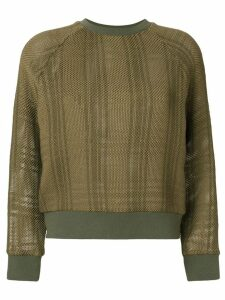 Mr & Mrs Italy patched tartan waffle knit sweatshirt - Green