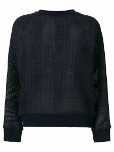 Mr & Mrs Italy tartan mesh semi-sheer jumper - Blue