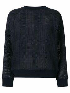 Mr & Mrs Italy tartan mesh semi-sheer jumper - Blue