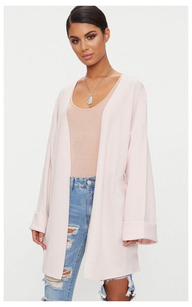 Nude Belted Oversized Sleeve Blazer, Pink
