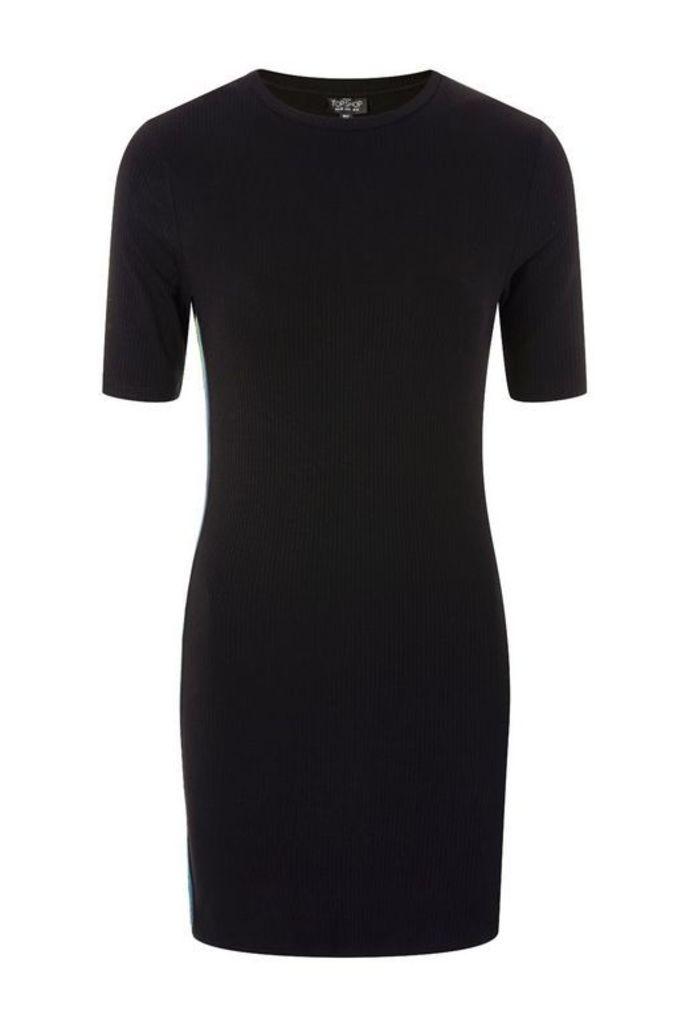 Womens PETITE Rainbow Striped Bodycon Dress - Black, Black