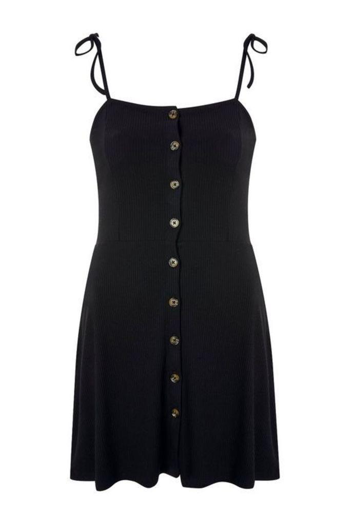 Womens Button Through Ribbed Mini Dress - Black, Black