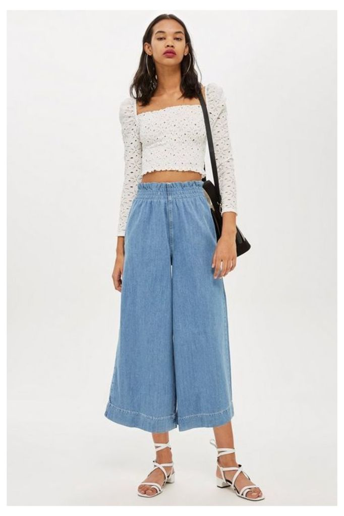 Womens MOTO Bleach Shirred Waist Jeans - Bleach Denim, Bleach Denim