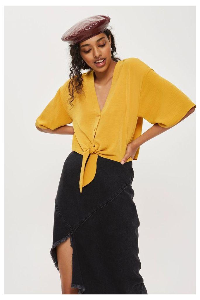 Womens Tie Front Shirt - Mustard, Mustard