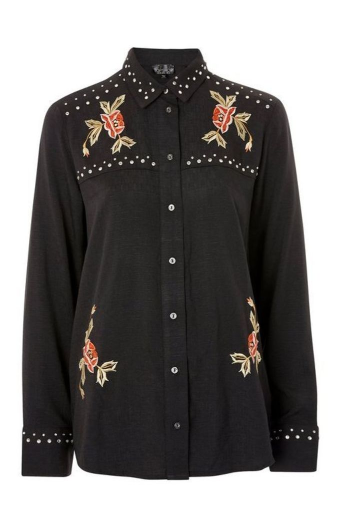 Womens Rodeo Studded Embroidered Shirt - Charcoal, Charcoal