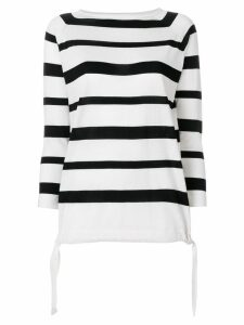 Moncler striped boat neck sweater - White
