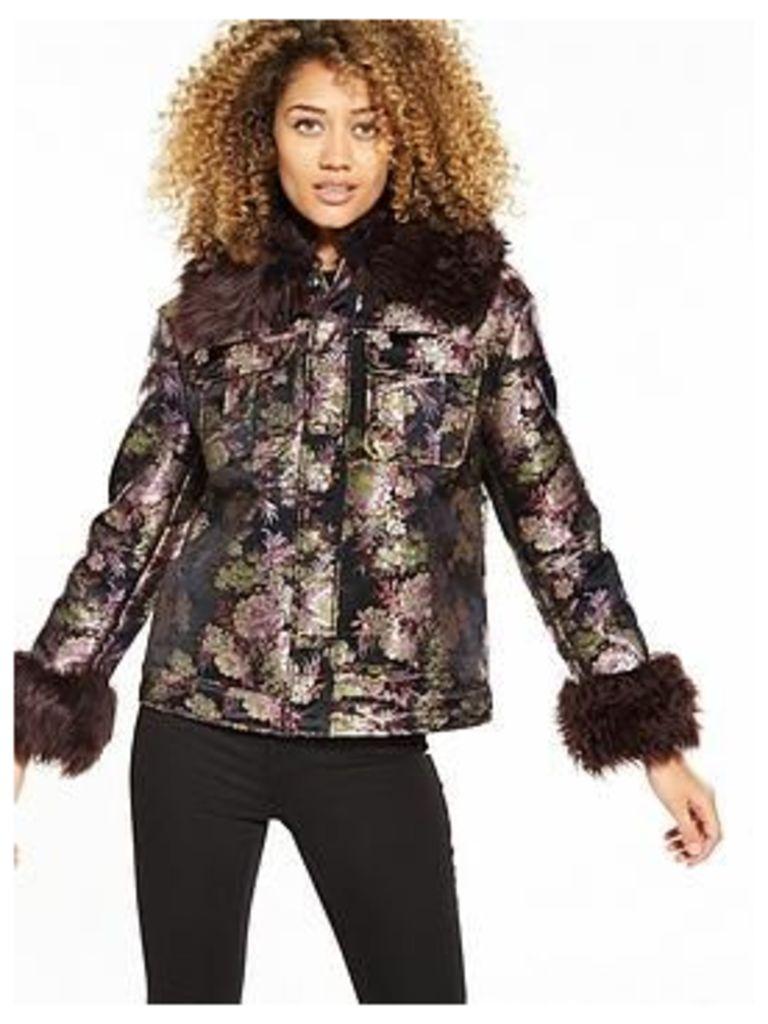 Lost Ink Bonded Jacquard Trucker Jacket, Black, Size 16, Women