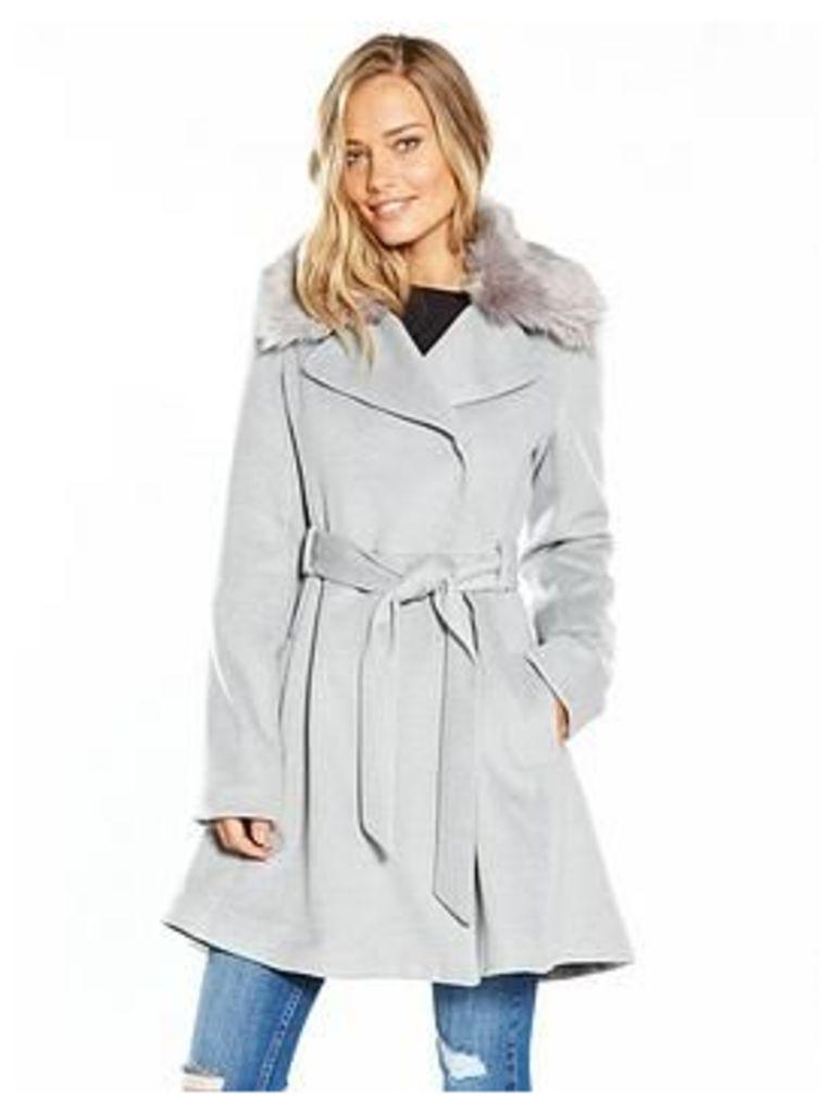 Lost Ink Full Skirted Faux Fur Collar Coat - Light Grey, Light Grey, Size 16, Women