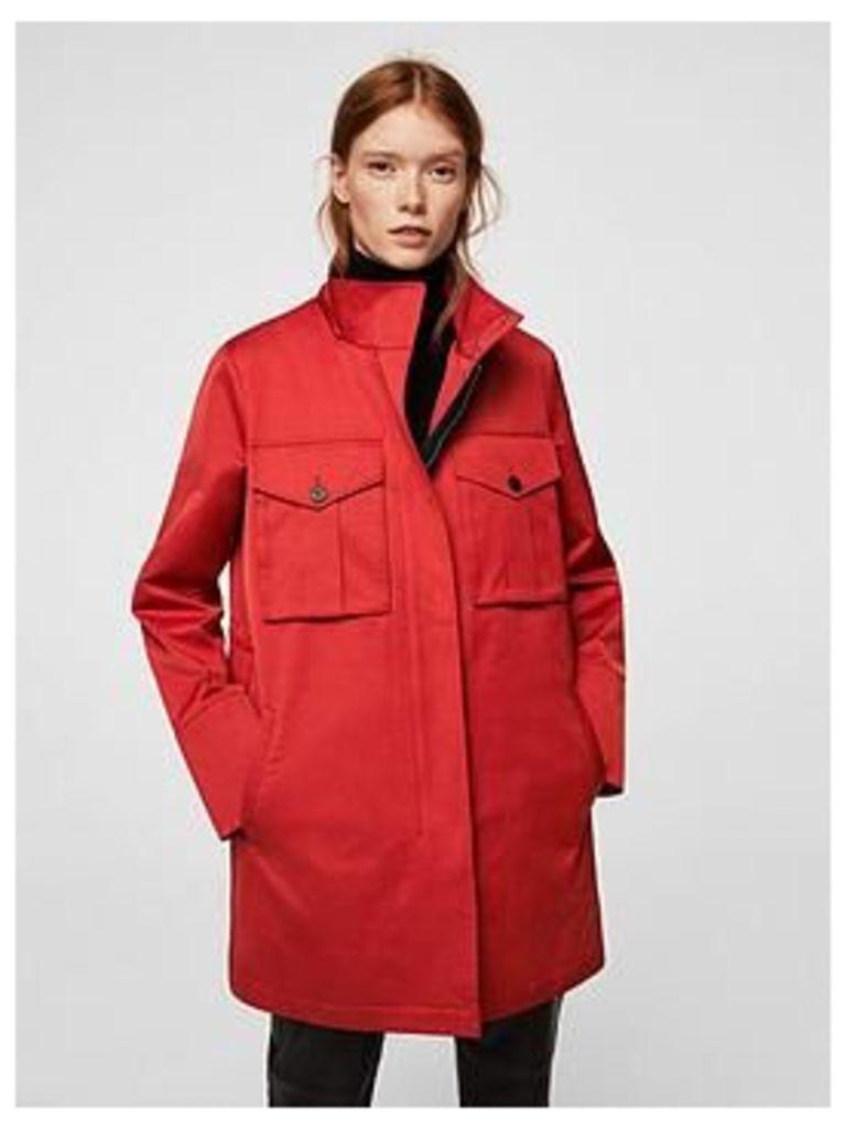 Mango Mango Detachable Waistcoat And Hood Parka, Red, Size L=12, Women