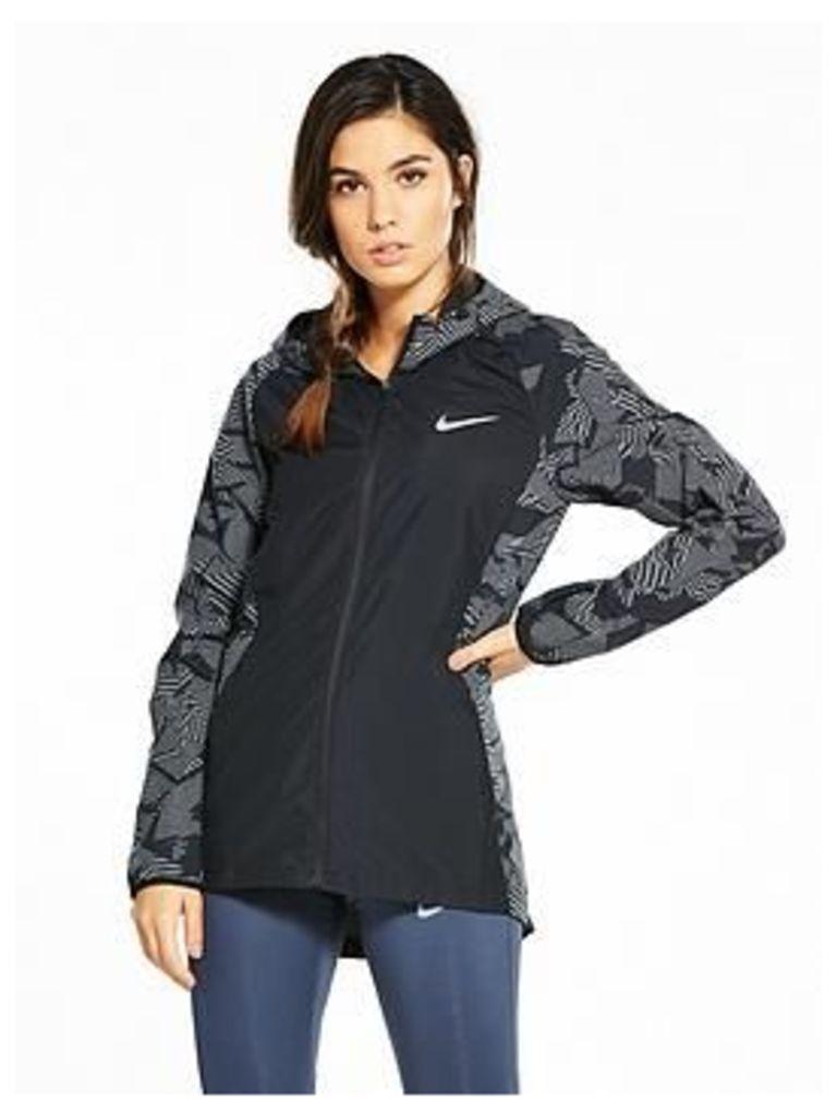 Nike Running Essential Flash Hooded Jacket - Black , Black, Size L, Women