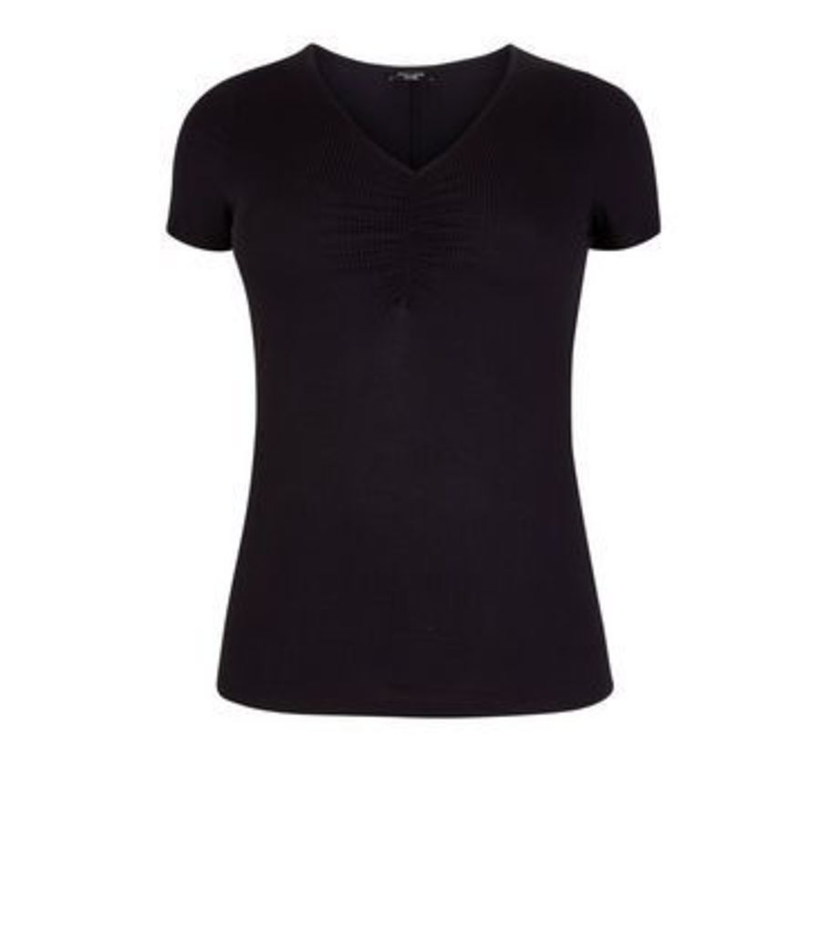Curves Black Ruched V Neck T-Shirt New Look