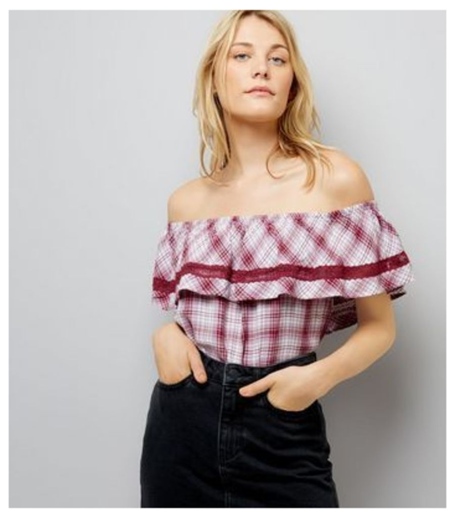 Red Check Bardot Neck Top New Look