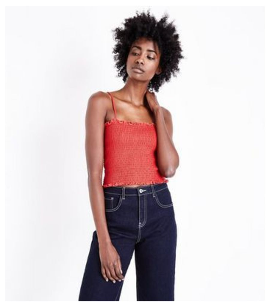 Red Shirred Cami New Look