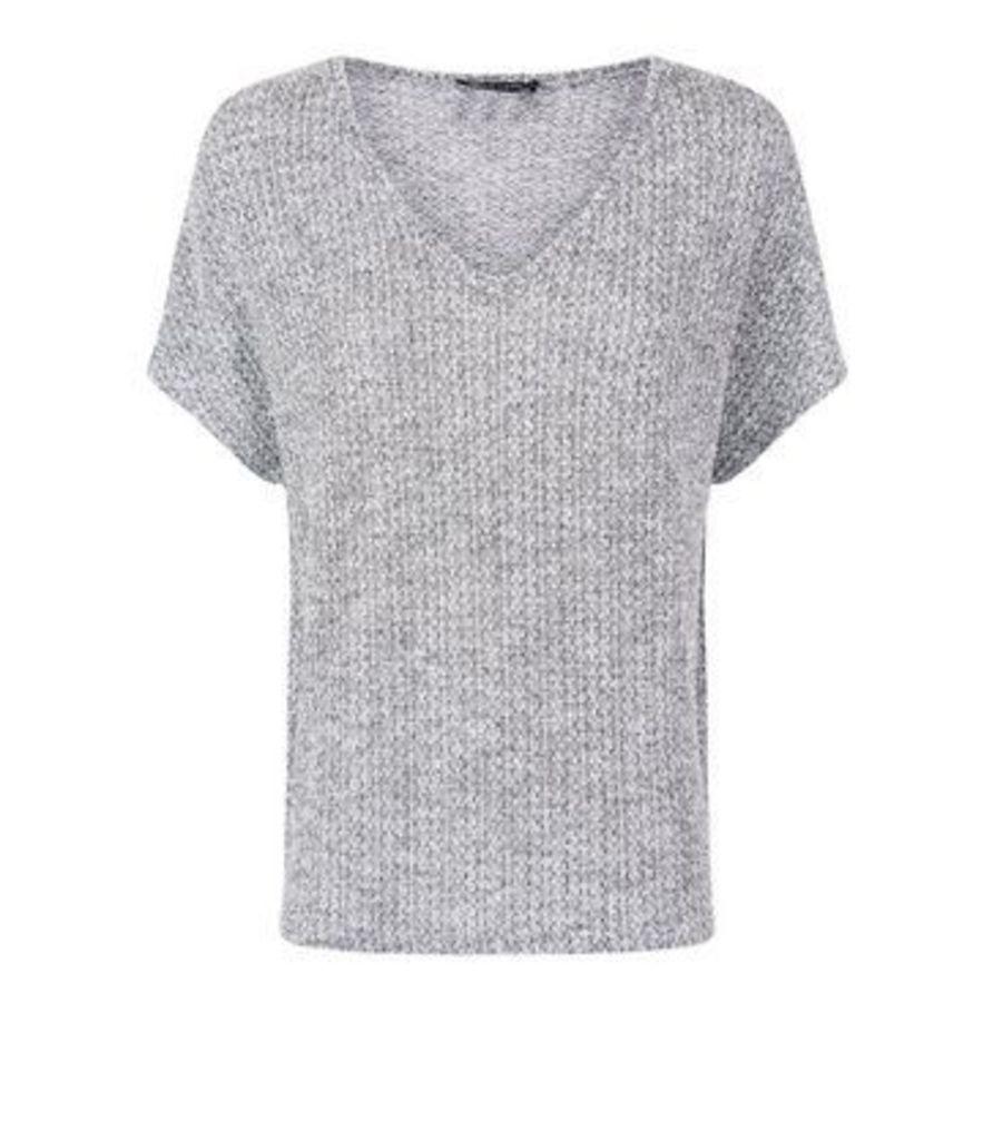 Black Marl Fine Knit V Neck T-Shirt New Look