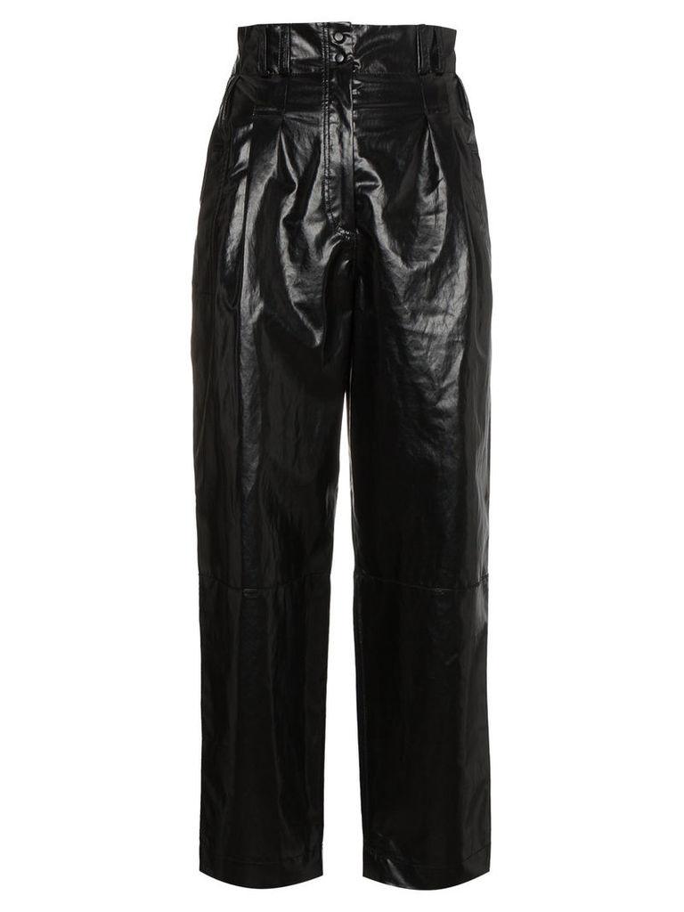 Philosophy Di Lorenzo Serafini Coated linen cropped trousers - Black