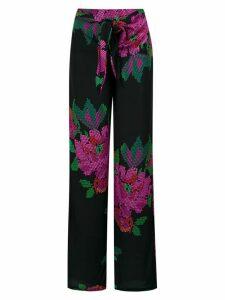 Amir Slama roses print wide leg trousers - Preto