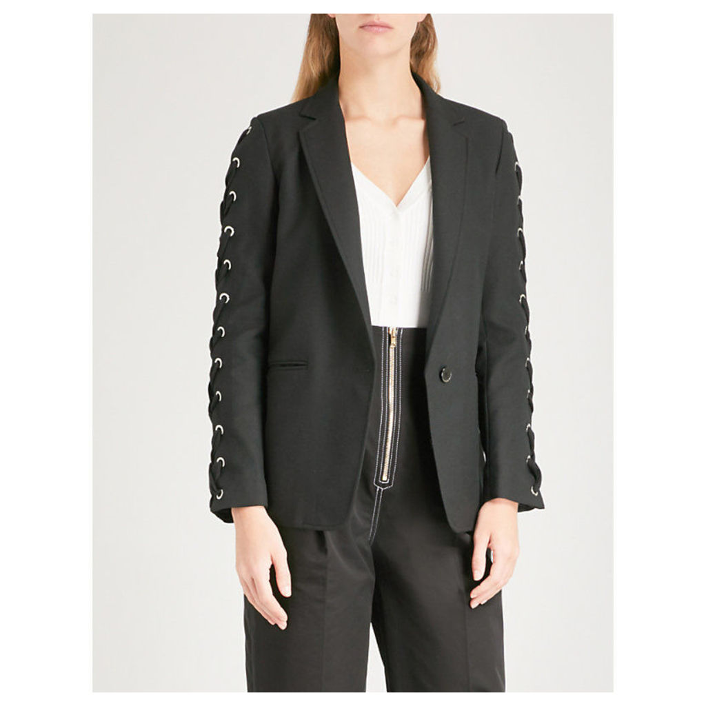 Lace-up detail woven jacket