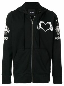 KTZ heart stamp zipped hoodie - Black