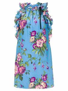 Gucci floral print tunic top - Blue