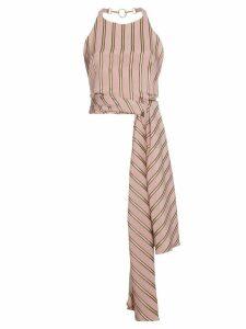 Esteban Cortazar Striped satin wrap top - Pink
