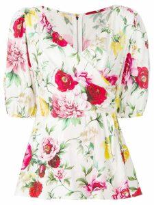 Dolce & Gabbana floral wrap blouse - White