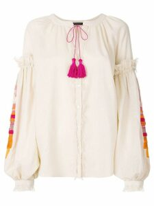 Wandering contrasting tassel peasant blouse - PINK