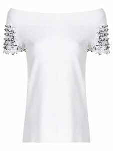 D.Exterior frill sleeves off the shoulder top - White