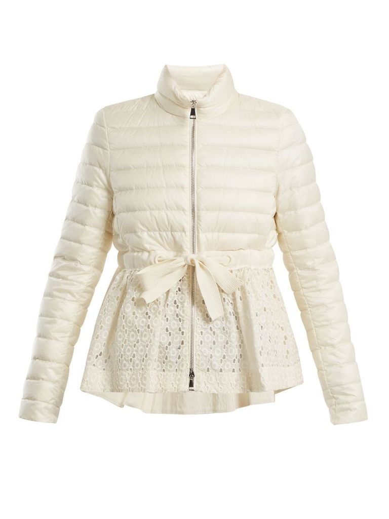 Serpentine quilted down embroidered jacket