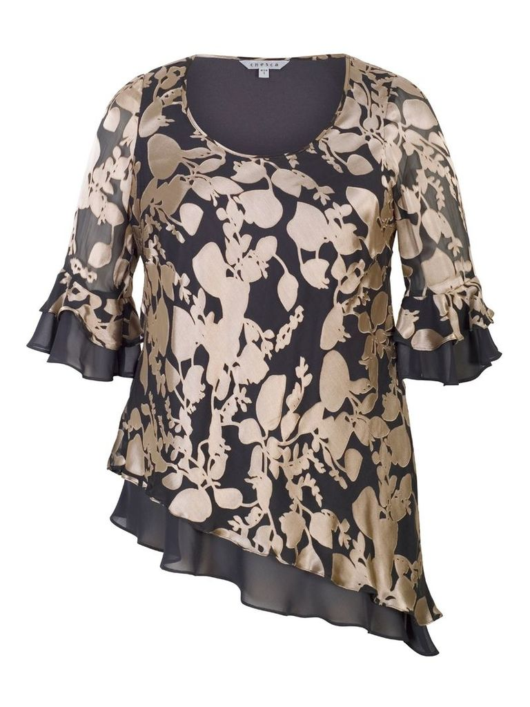 Chesca Leaf Devoree Layered Top, Rose Gold