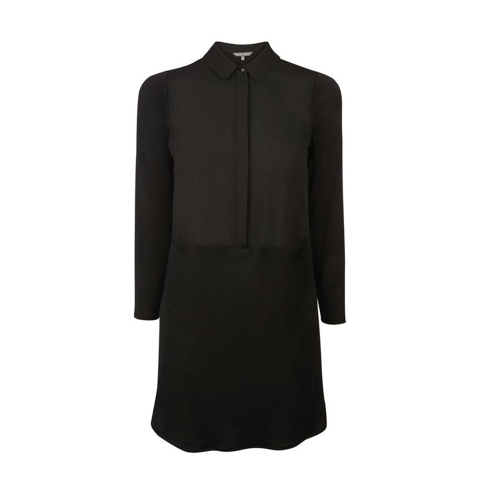 Black Jersey and Woven Mix Tunic Shirt