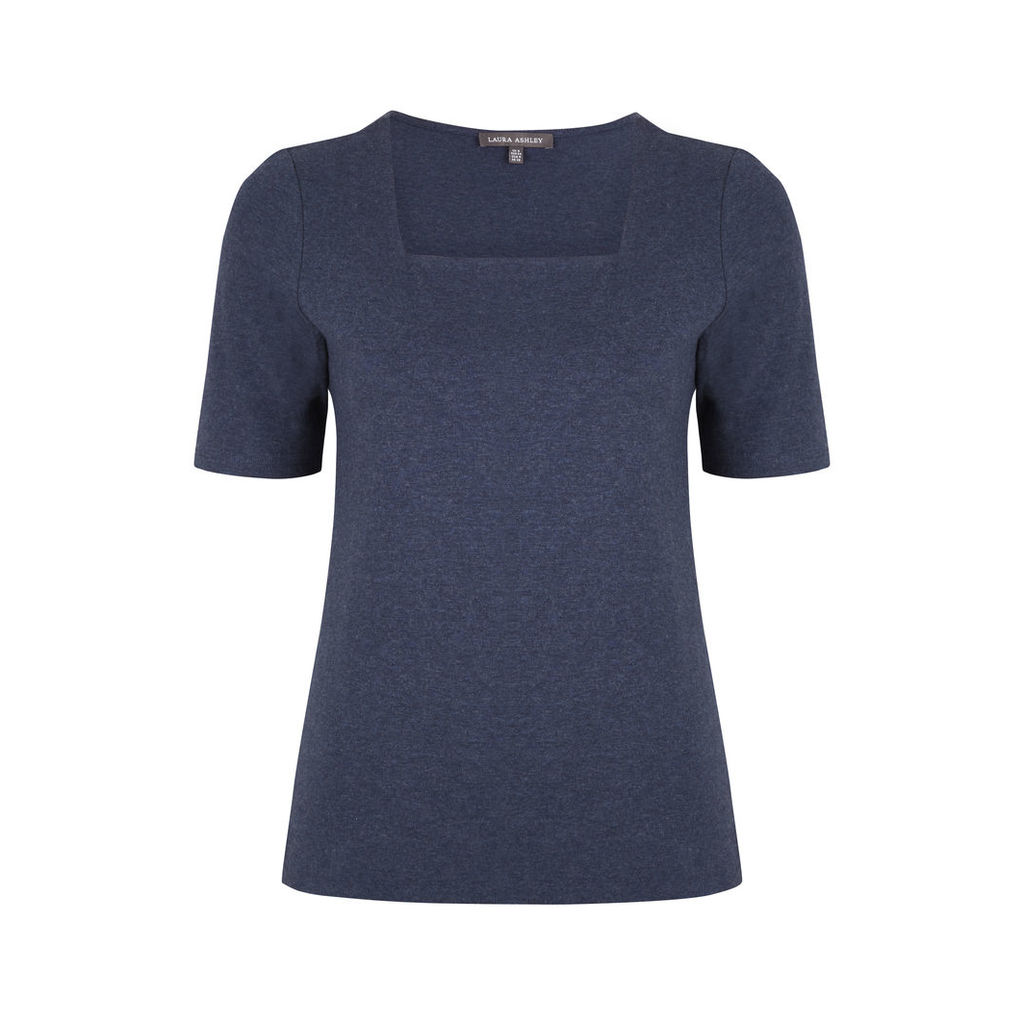 Blue Half Sleeve Square Neck Top
