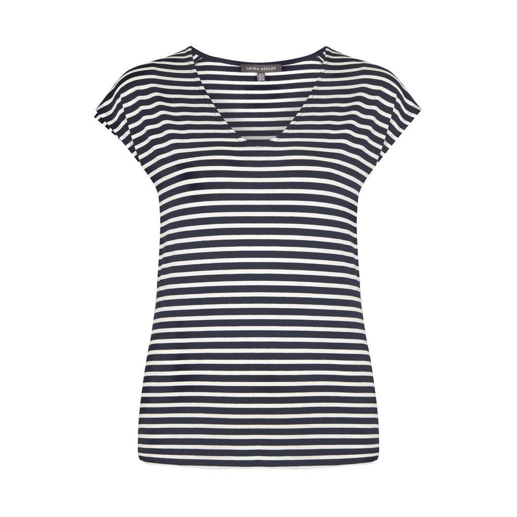 Navy and White Stripe VNeck TShirt
