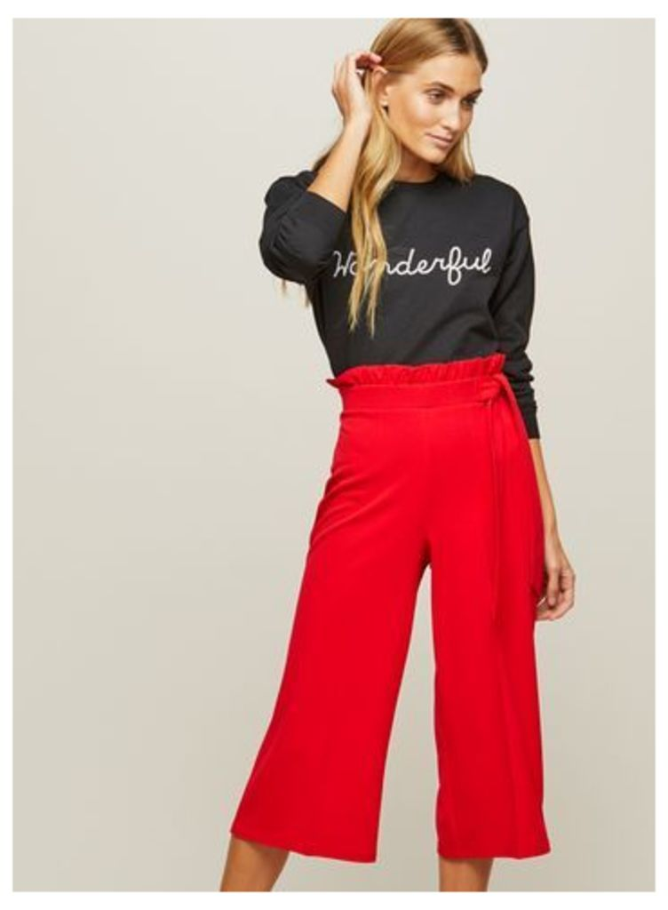 Womens PETITE Ruffle Top Trouser, Red