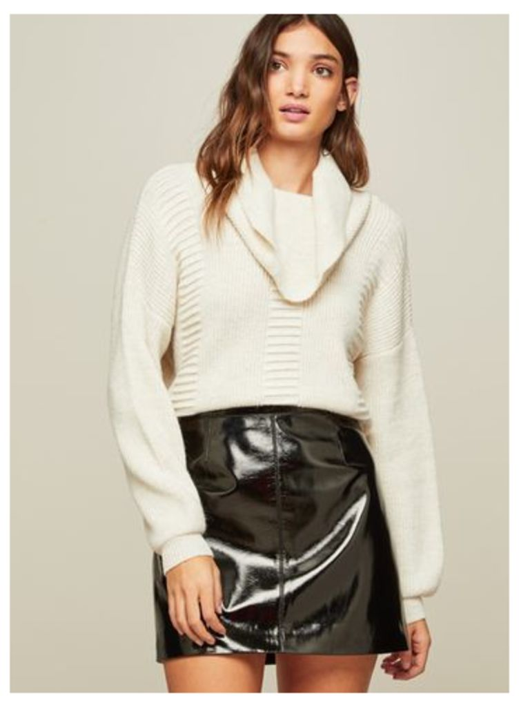 Womens Roll Neck Boxy Knitted Jumper, Cream