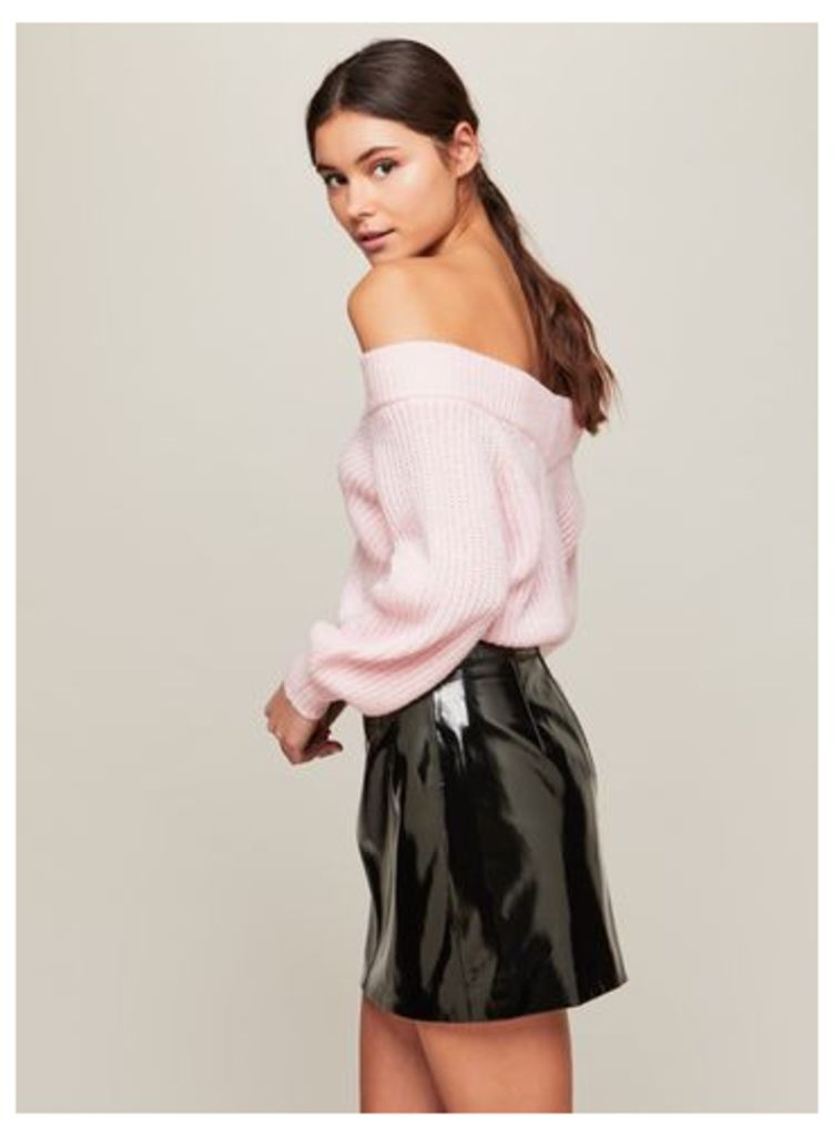 Womens Pink Bardot Volume Sleeve Knitted Jumper, Pink