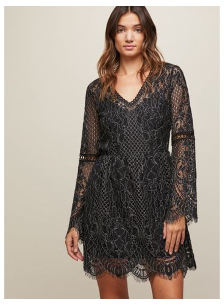 Womens Black Bell Sleeve Lace Skater Dress, Black