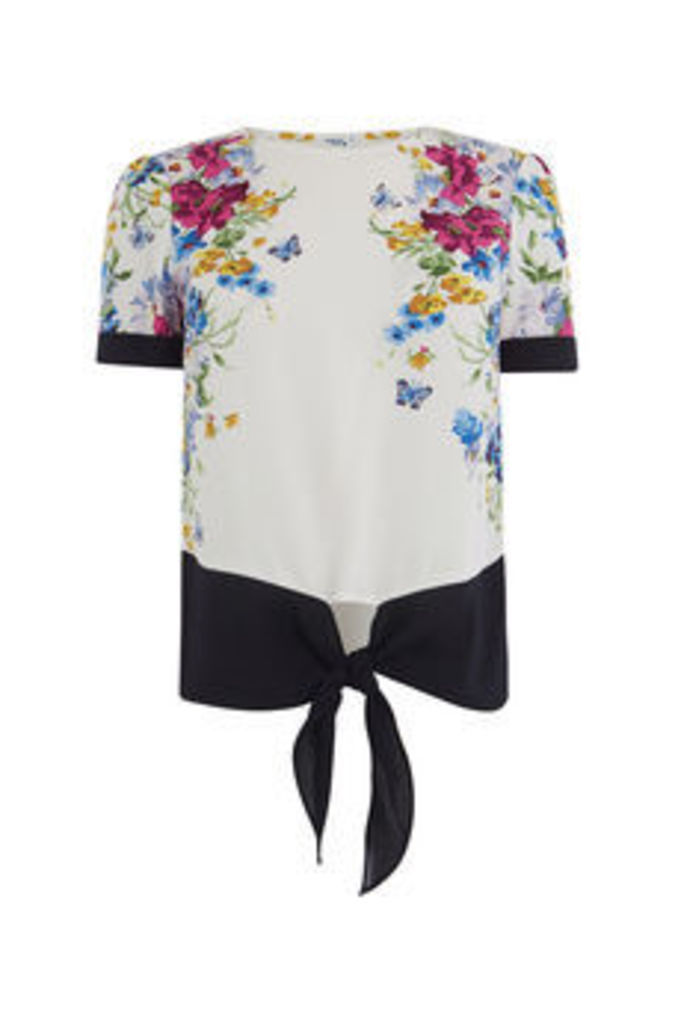 PLACEMENT FLORAL TIE FRONT TEE