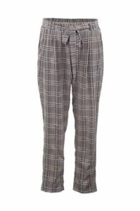 Checked Tie Waist Crop Trousers