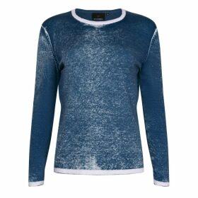 NY CHARISMA - Blue Cotton Hand Print Pullover